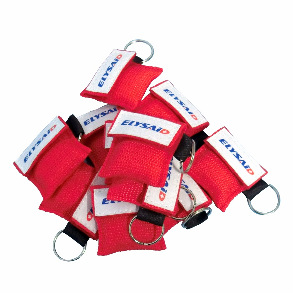 10Pcs New Style CPR Mask CPR Face Shield Emergency Resuscitator Mask Keychain Key Ring One-way Valve First Aid Rescue Red Pouch