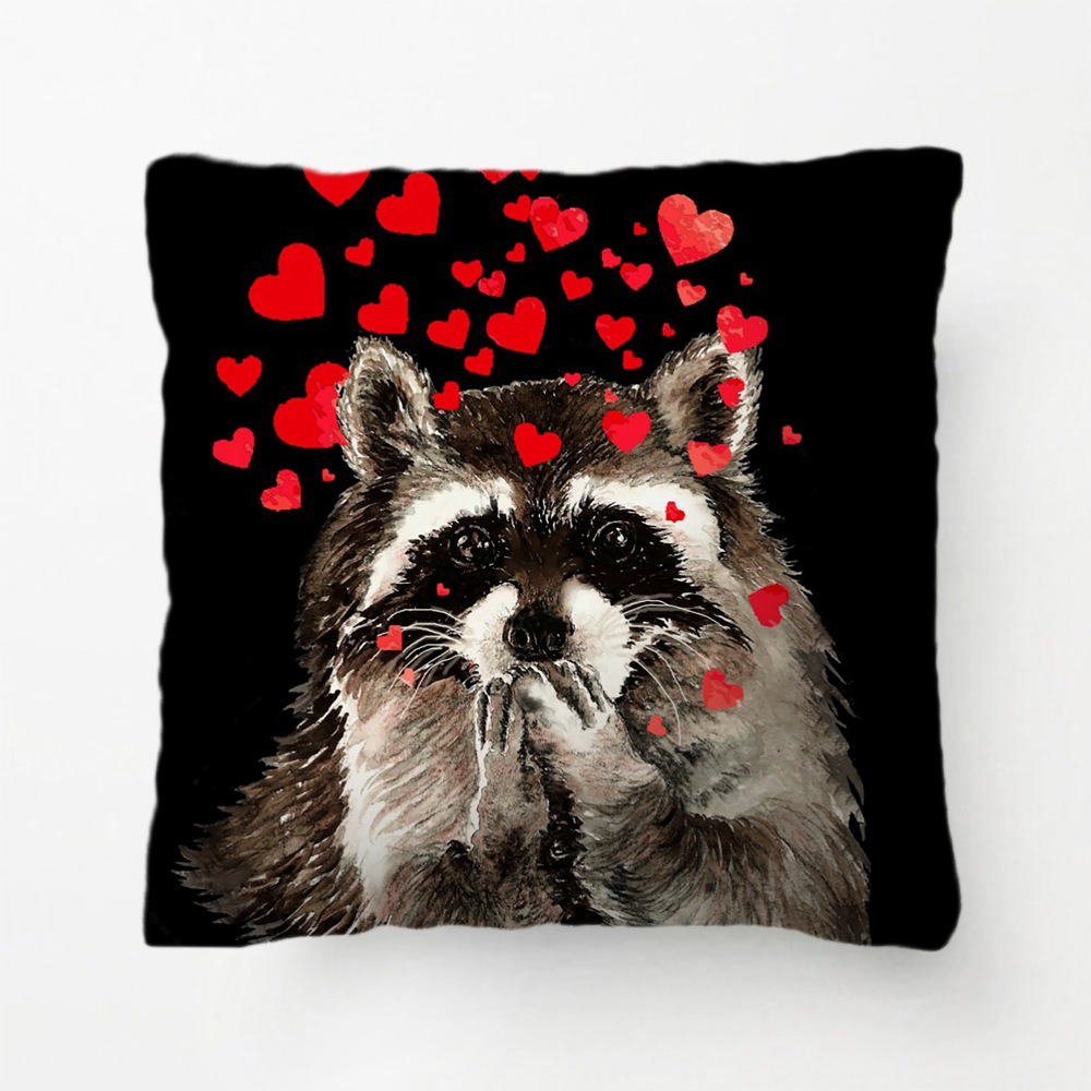 Cute Raccoon Blowing Kisses Love Hearts Throw Pillow decorative Cushion Cover Pillow Case Customize Gift For Bedroom Pillowcase