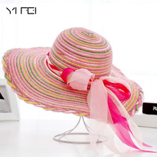 YIFEI New Fashion sun hats Summer Cotton sun visor hat Beach hat for women ladies Large brim hat With Ribbons free shipping 2018 newest glitter women gladiator sandals wedge peep toe summer transparent beach women s ladies jelly shoes jdd77