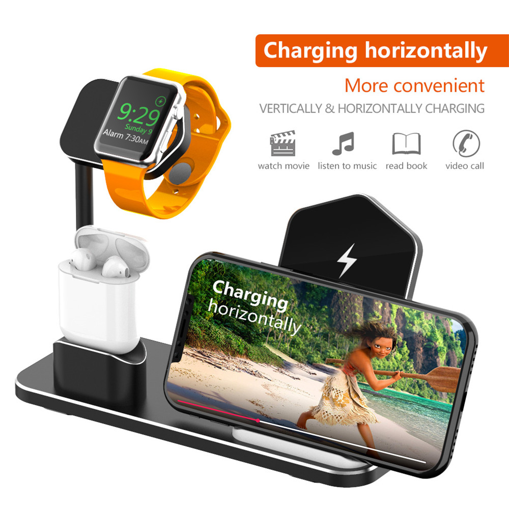 Support de chargeur sans fil en alliage d'aluminium pour iPhone Xr XS X AirPods Apple Watch chargeur Station d'accueil pour Apple Watch Series 4/3/2/1