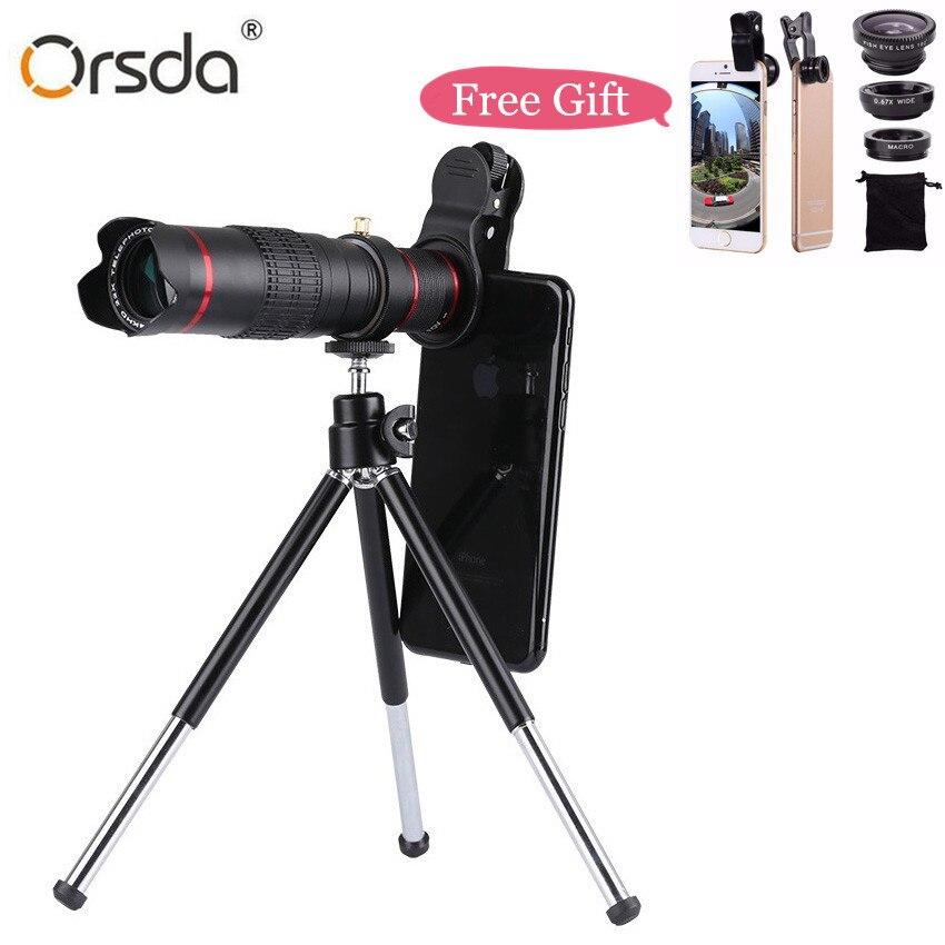 Orsda HD 4 k 22x Zoom Téléphone Mobile Télescope Lentille Téléobjectif Externe Smartphone Caméra Lentilles Pour IPhone Sumsung huawei téléphones