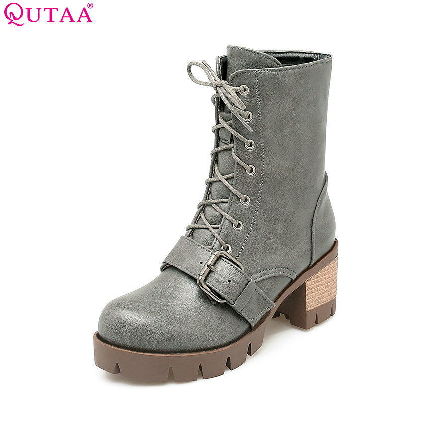 ФОТО QUTAA Elegant PU Leather Zipper Women Shoes Gray Pointed Toe Thin High Heel Mid Calf Boot Women Motorcycle Boot Size 34-42