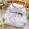 Весенние 2016 новорожденных девочек пальто Чистый цвет точек куртка бутик детская ткань Прекрасный bowknoting 0-2 Т