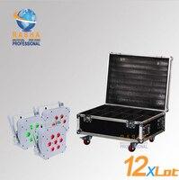 12X LOT Hot Venda Rasha Quad 7*10 W RGBA/RGBW 4in1 Sem Fio Perfil de LED Plana Par, Par Plana LED Pode Com 12in1 Vôo caso