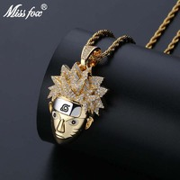 Missfox Hip Hop Cartoon Naruto Necklace Pendant Hq Cubic Zirconia 24k Gold Iced Out Pendant With Rope Chain Free Shipping