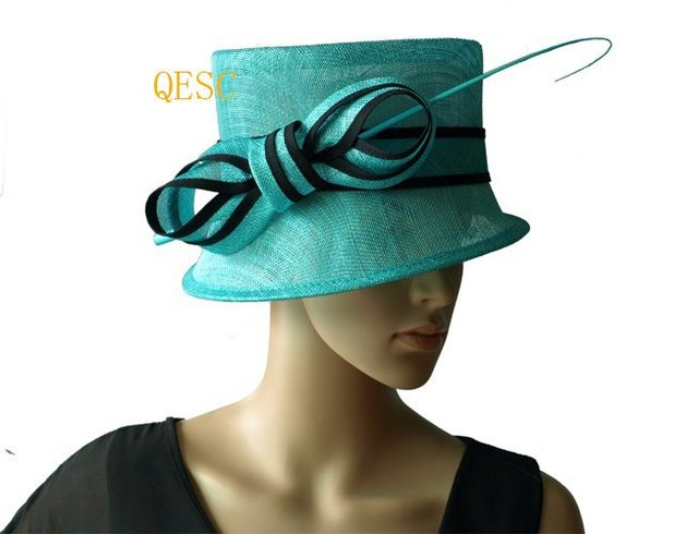 Lagoon Turquoise blue black church hat Sinamay Hat w ostrich spine for  wedding 2de05d63f0af
