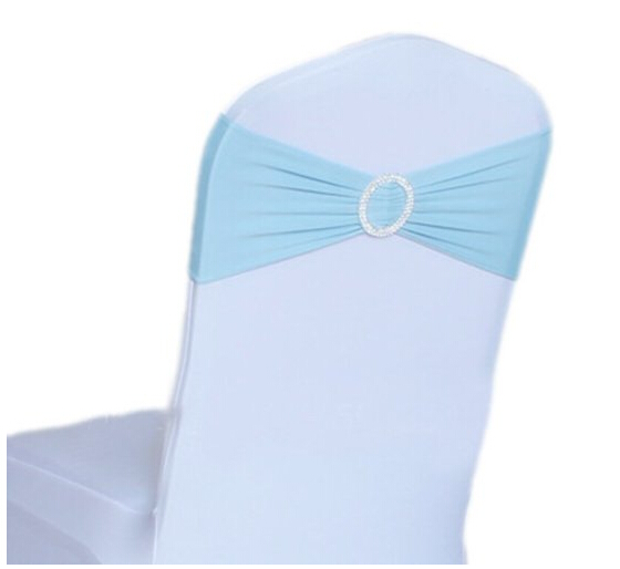blue spandex chair covers revolving kitchen 100pcs light lycra cover band with buckle for party wedding banquet decoration free shipping in sashes from home garden on