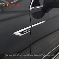 For VW Tiguan 2016 2017 2018 2019 MK2 Car Chrome Side Wing Fender Emblem Badge With 4 Motion Sticker Trim Original Car Styling