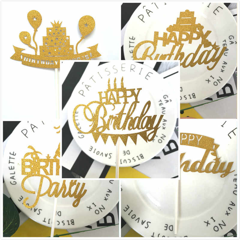 Cake Topper Happy Birthday Party Favors Cupcake Topper Birthday Party Decorations Kid Baby Shower Boy Happy Birthday Cake Topper