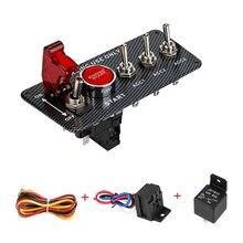 12 В СВЕТОДИОДНЫЙ Переключатель зажигания Панель для двигателя гоночного автомобиля пусковая кнопка Светодиодный переключатель из углеродного волокна QT313
