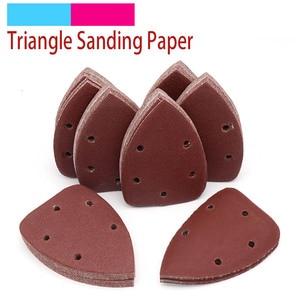Image 1 - 10pcs 140x90mm Self adhesive Sandpaper Triangle Sander Grit 40 400 Sand Paper Sanding Disc Abrasive Tools For Polishing Wood