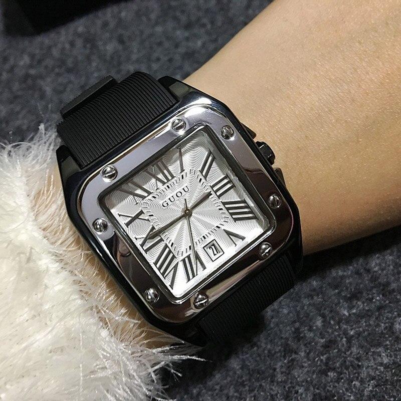 GUOU femmes montres dame de luxe montres en caoutchouc silicone robe montre dame carré Quartz montres horloges-in Montres femme from Montres    1