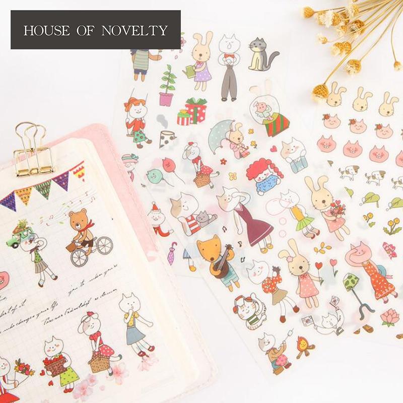 6 pcs/pack Mod Miss Cat Decorative Stickers Adhesive Stickers DIY Decoration Diary Stationery Stickers Children Gift
