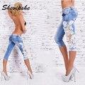 Boyfriend hole ripped jeans women pants Lace Embroidery Trousers splice denim jeans Mid Waist Casual Female Knee Length pants
