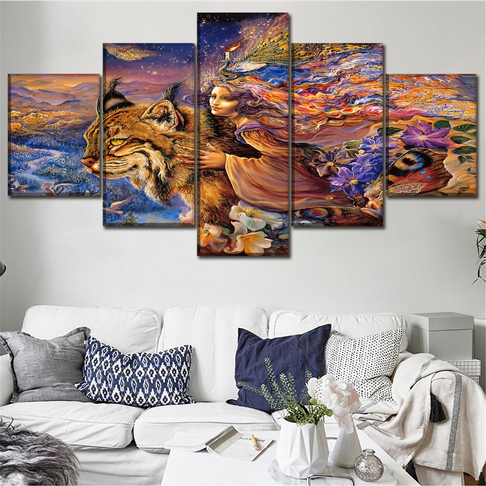 Canvas living room wall art decor framework 5 pcs print - What type of paint for living room walls ...