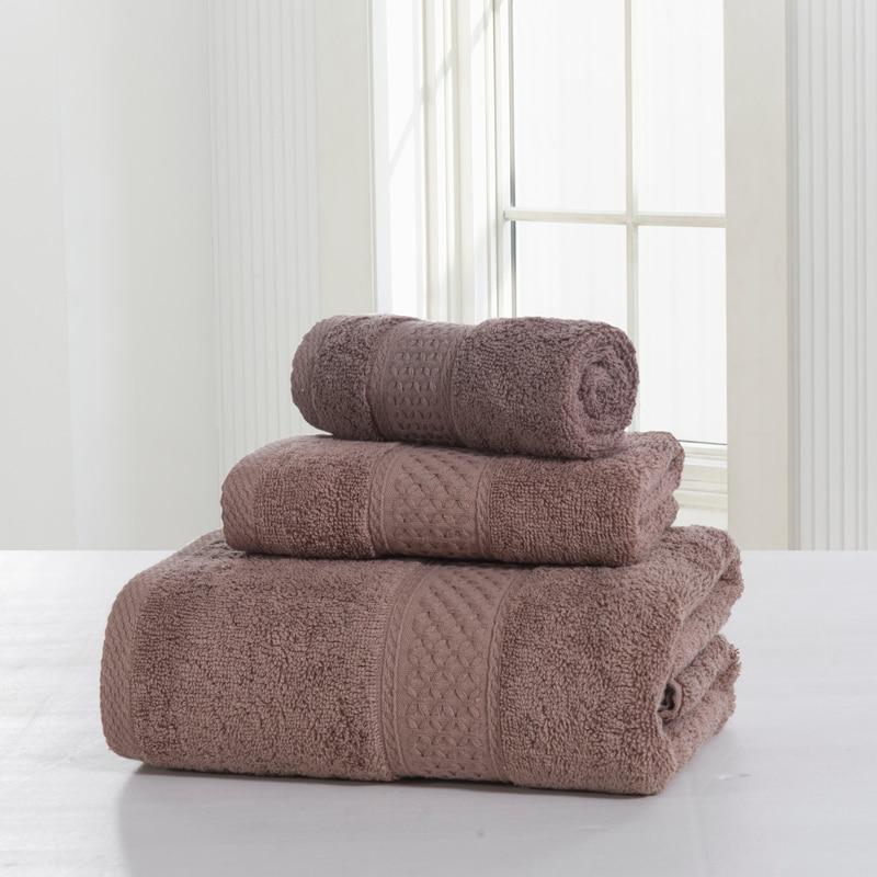 Small Towel: SunnyRain 3 Pieces Solid Color 100% Cotton Towel Set Bath