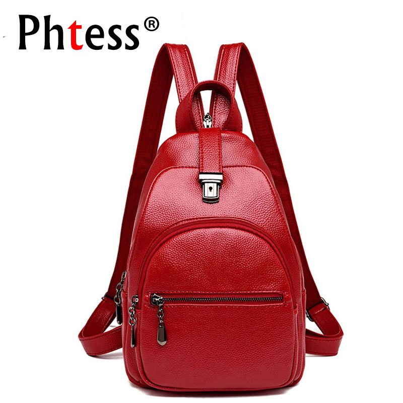 2019 Small Leather Backpacks For Girls Sac A Dos Female Travel Shoulder Bag Mochilas Rucksacks For Girl Ladies Bagpack Small