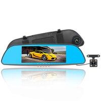 Starlight Night Vision 1080P Mirror Driving Recorder 7 Inches Dual Len Mirror Dash Cam Blue Screen