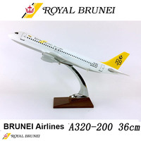36cm 1/100 Scale Airbus Royal Brunei Airlines A320 200 Airplane Model Toys Aircraft Diecast Plastic Alloy Plane Collectible