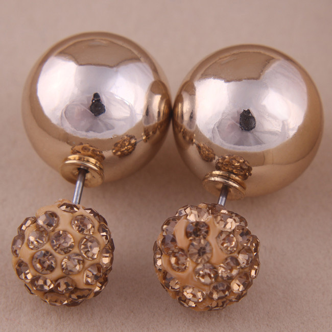 3 Designs New Nice Gold Silver Plated Double Sides Pearl Ear Stud Earrings Crystal Ball Crown Earrings For Women Party Jewelry