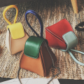 New 2017 Lady pu leather colorful triangle mini chains handbag crossbody shoulder bag women phone bag fashion spring style
