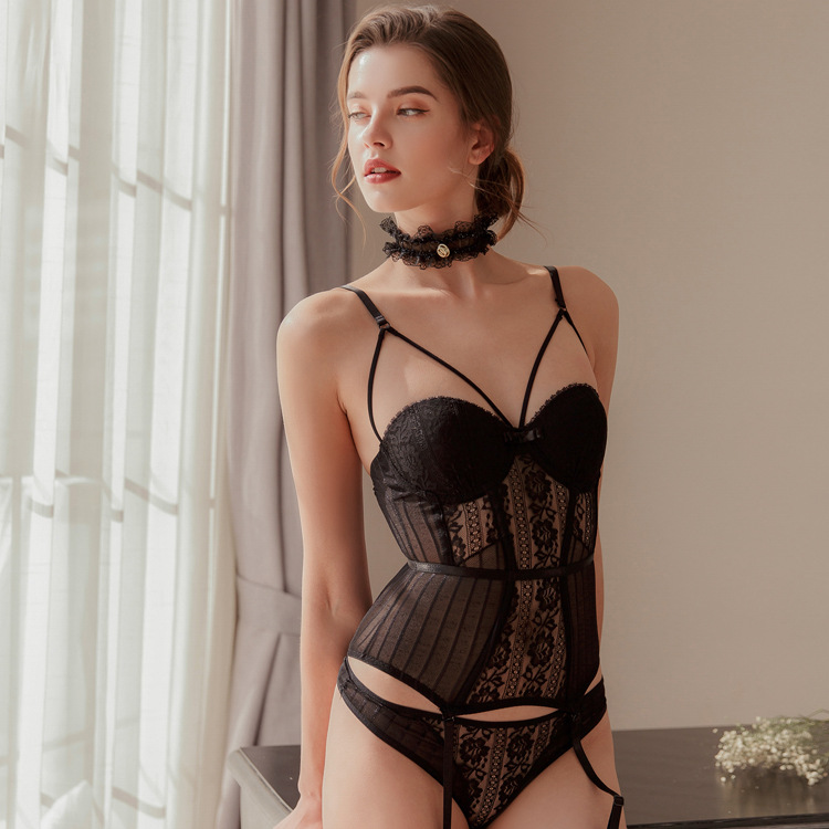Sexy   Bustier   and   Corset   Fish Boned Slim Waist Trainer Transparent Women Stretching Underwear Over bust Push Up Straps Lingerie
