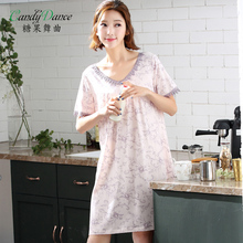 Nightgown modal cotton female summer sexy thin short-sleeve medium-long plus size quality medium skirt