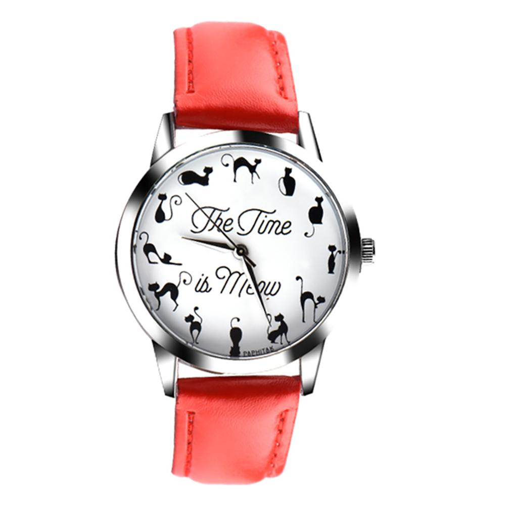 Sanwood Novelty Cat Letter Dial Quartz Moment Faux Leather Band Couples Wrist Watch New