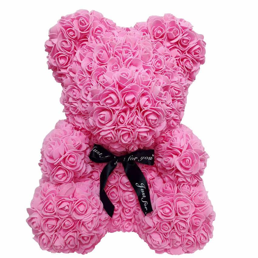 Мини-Роза медведь цветок украшение Искусственные из ПЭ Пена розы Букет Свадебная вечеринка Декор Тедди цветок сделай сам, поделки ручной работы