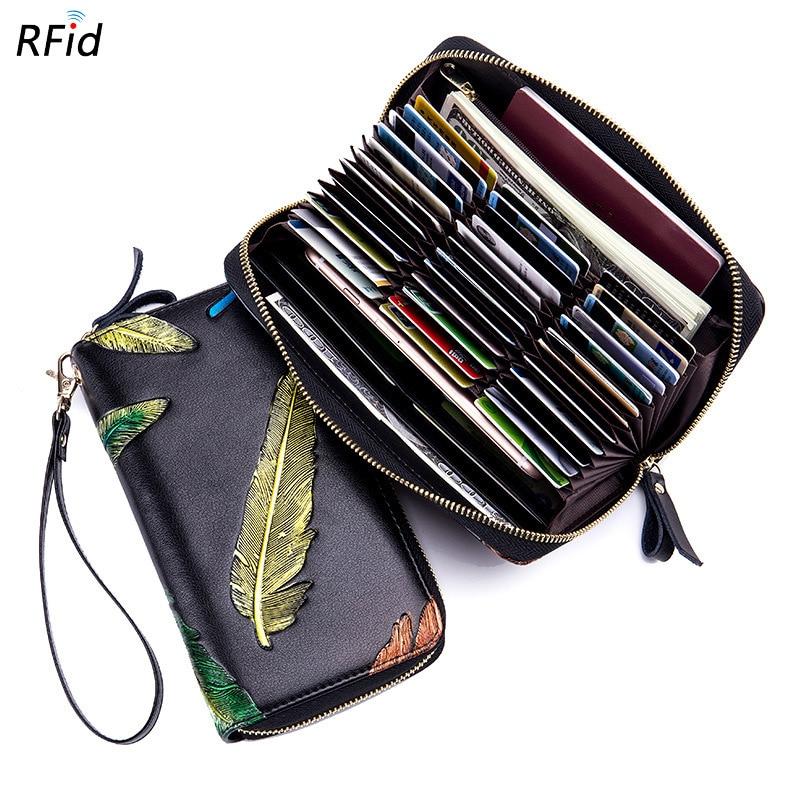 все цены на Rfid 36 Card Slots Genuine Leather Women Card Holders Large Capacity Credit Card Holder Wallet Female Business Card Holders Bag онлайн