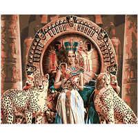 Картина по номерам DIY дропшиппинг 40x50 60x75 см леопард и Клеопатра фигура холст свадебное украшение искусство картина подарок