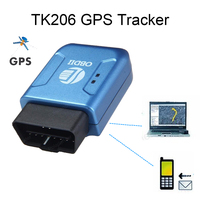 GPS GPRS TK206 Car Tracker OBDII Interface Geo fence Function Auto fleet vehicle Tracking Device Blue color