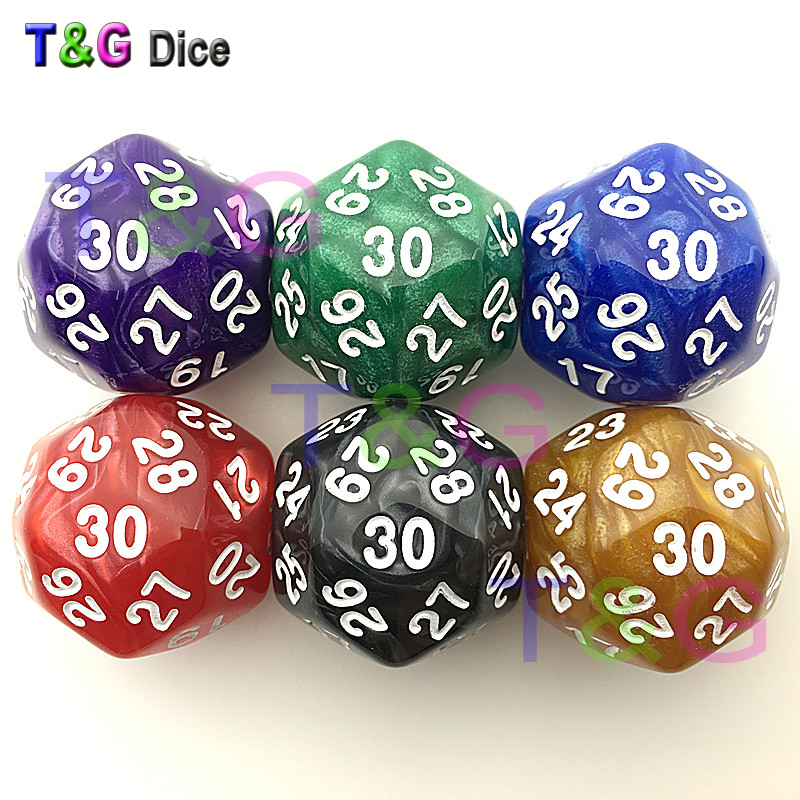 Funny D30 Marbled Colors Gaming Dice Thirty Sided Die RPG For Birthday Parties Polyhedral 6pc/lot