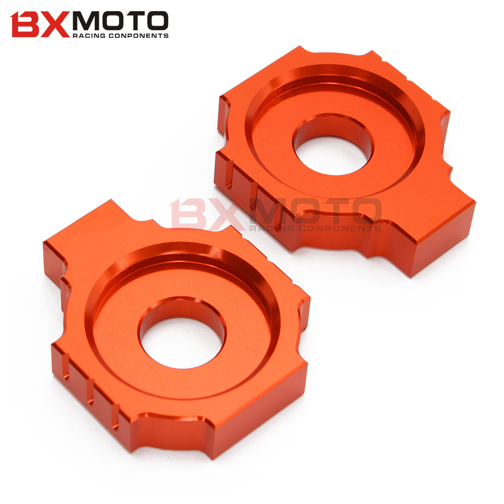 Fashion Motorcycle Accessories Cnc Rear Axle Spindle Chain Adjuster Blocks Alloy Orange For Ktm Duke 125/200/390