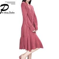 Hidden lover Brick red wool blend woven vintage Dress 2018 Ladies Autumn Winter o Neck Long Sleeve Ruffles Casual Loose Dresses