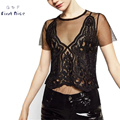 Women T-shirt New Fashion Two Piece Set Black Sexy Summer Lace Transparent Female Crop Tops Gauze Short V-neck Hollow out Tees