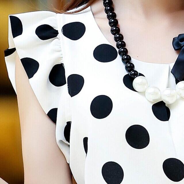 New Summer Womens Ladies Chiffon Puffed Short Sleeve  Dot Print Top Blouse