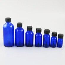 200 × 5 ミリリットル 10 ミリリットル 15 ミリリットル 20 ミリリットル 30 ミリリットル 50 ミリリットル 100 ミリリットルコバルト青マニキュアガラス黒ブラシキャップ 1 オンスガラス化粧品容器