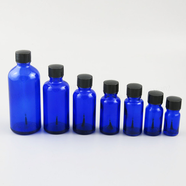 200 x 5ml 10ml 15ml 20ml 30ml 50ml 100ml Cobalt Blue Nail Polish Glass Bottle  With Black Brush Cap 1oz Glass Cosmetic Container