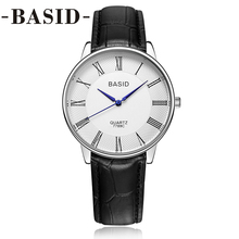 BASID Quartz Watch Women Fashion Casual Business Leather Band Wristwatches Simple Lover Couple Watches Water Resistant Wholesale