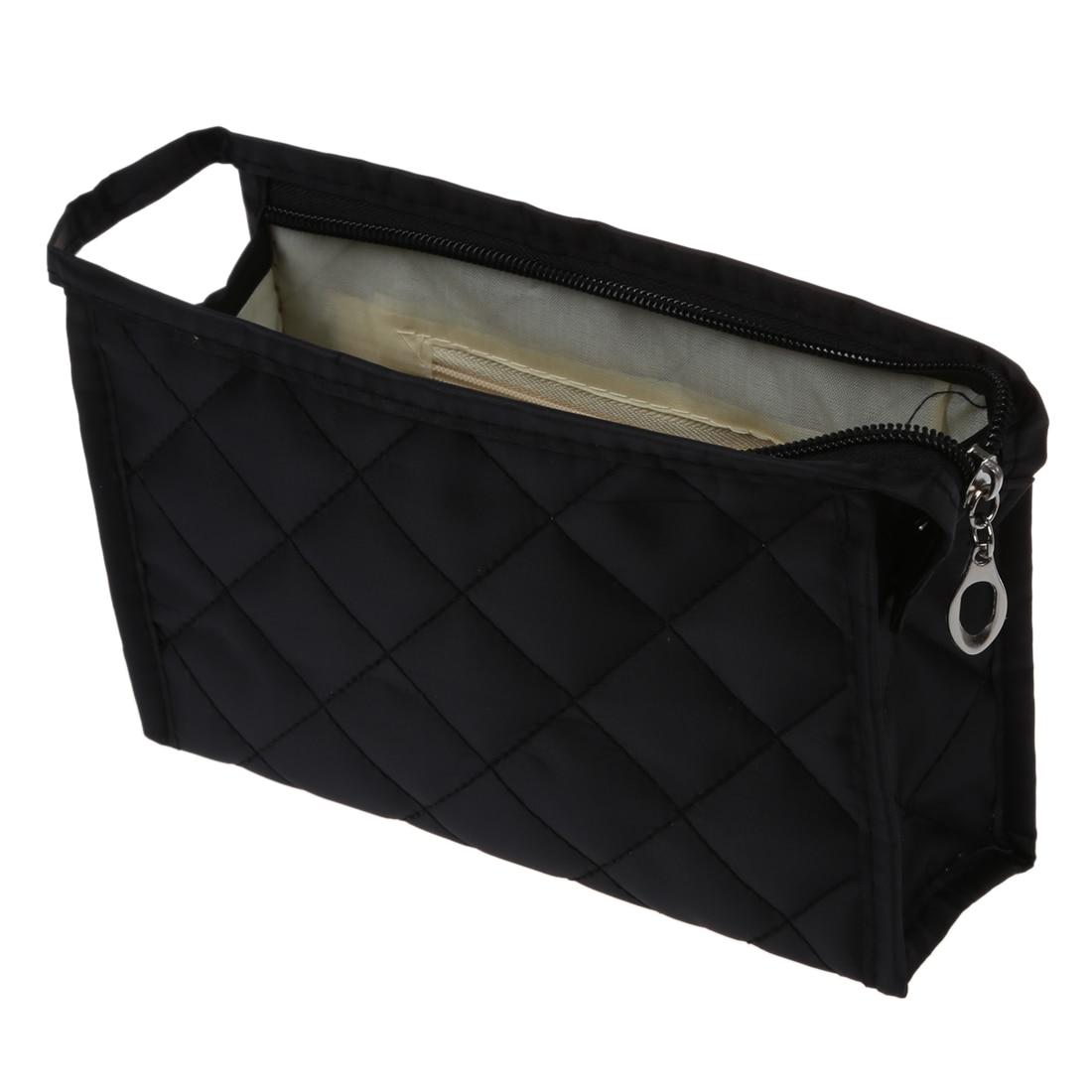 2018 Neue Heiße Mode Und Gute Qualität Kunststoff Schwarz Grid Muster Kosmetische Fällen Bilden Kleine Tasche Mit Schwarz Frühling