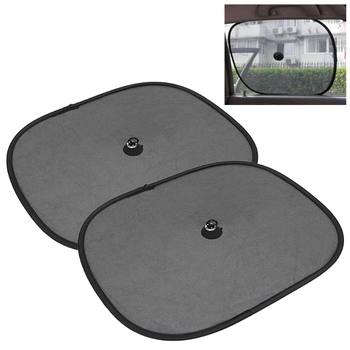 QILEJVS Car Styling 2Pcs Car Window Sunshade Sun Shade Visor Side Mesh Cover Shield Sunscreen Black image