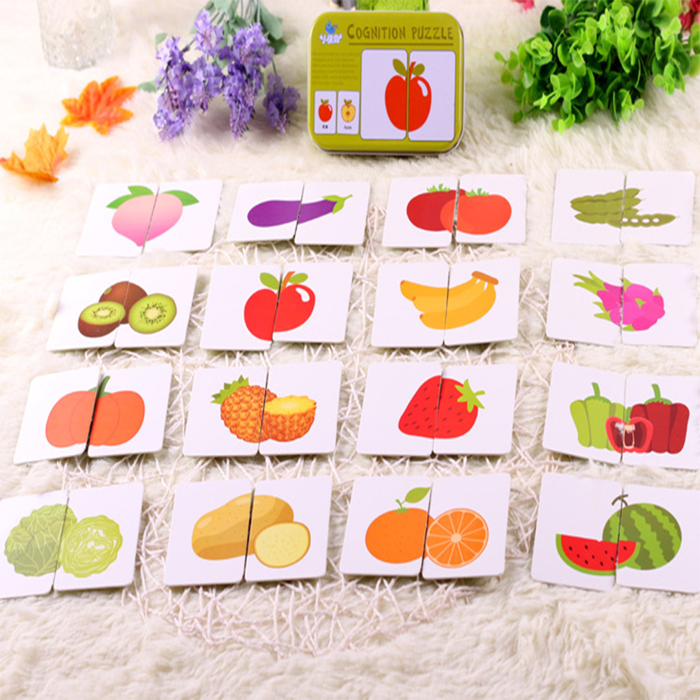 Baby Enlightenment Early Childhood Cognitive Card Fruits/Animals/Traffic/Family 3d Cards Montessori Materials English Games Kids