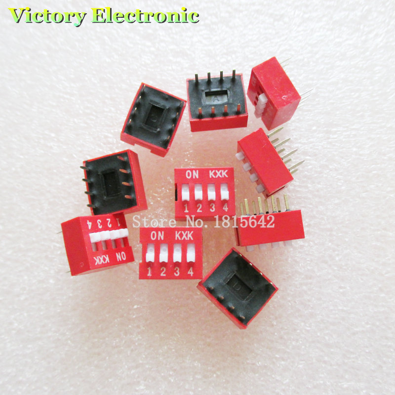 10PCS/Lot DIP Switch 4 Way 2.54mm Toggle Switch Red Snap Switch Wholesale Electronic