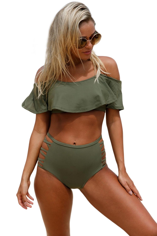 Ruffle Off Shoulder Strappy Bikini High Waist Swimsuit Sexy Women Two Pieces Bathingsuit Beachwear Maillot Summer Swimwear
