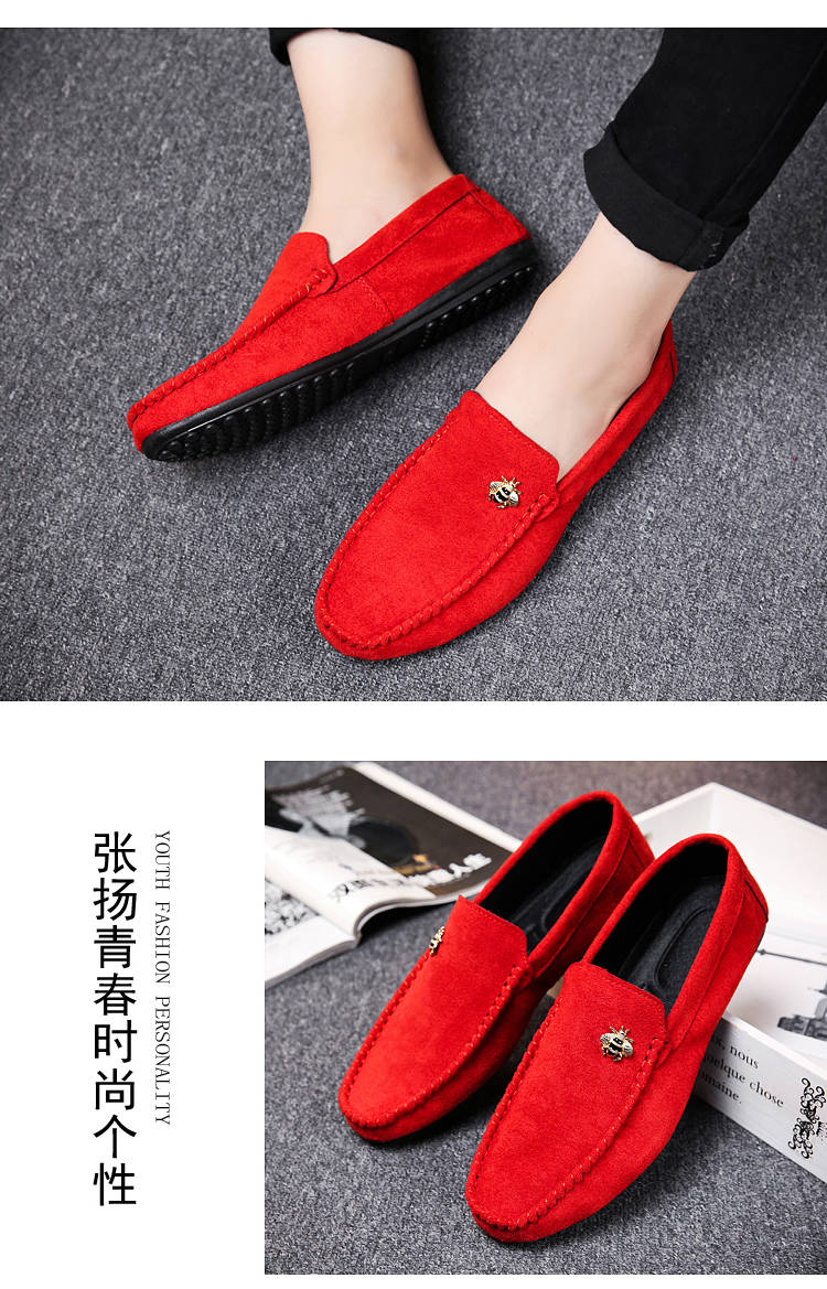 Juyouki Natural Cow Suede Bees Men's Casual Shoes Alligator Style Men Loafers Slip on Lazy Shoes Wiht Male Outdoor Shoes 9
