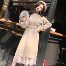 Autumn And Winter 2018 New Women Knitted Two Pieces Turtleneck Casual Dress Empire Waist Mid-Calf Elegant With Sashes Dresses