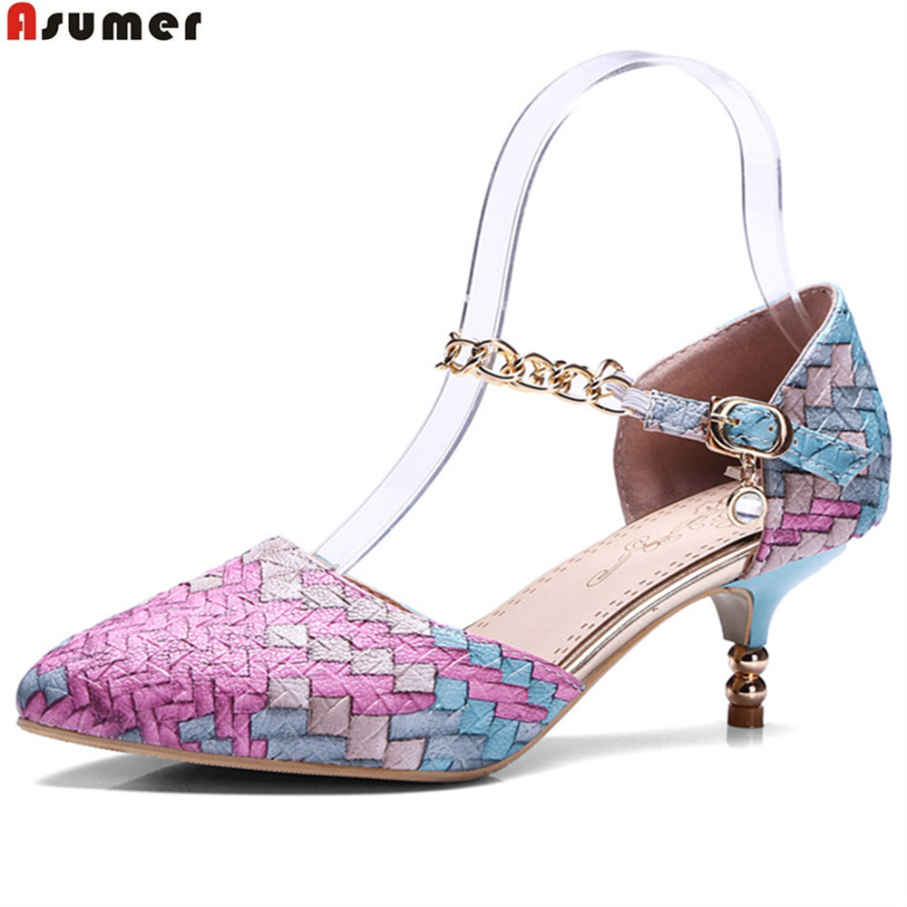 ASUMER Red Yellow Purple Pointed Toe Fashion Ladies Prom Shoes Buckle Mixed Colors Shoes Woman Med Heels Shoes Plus Size 33-46