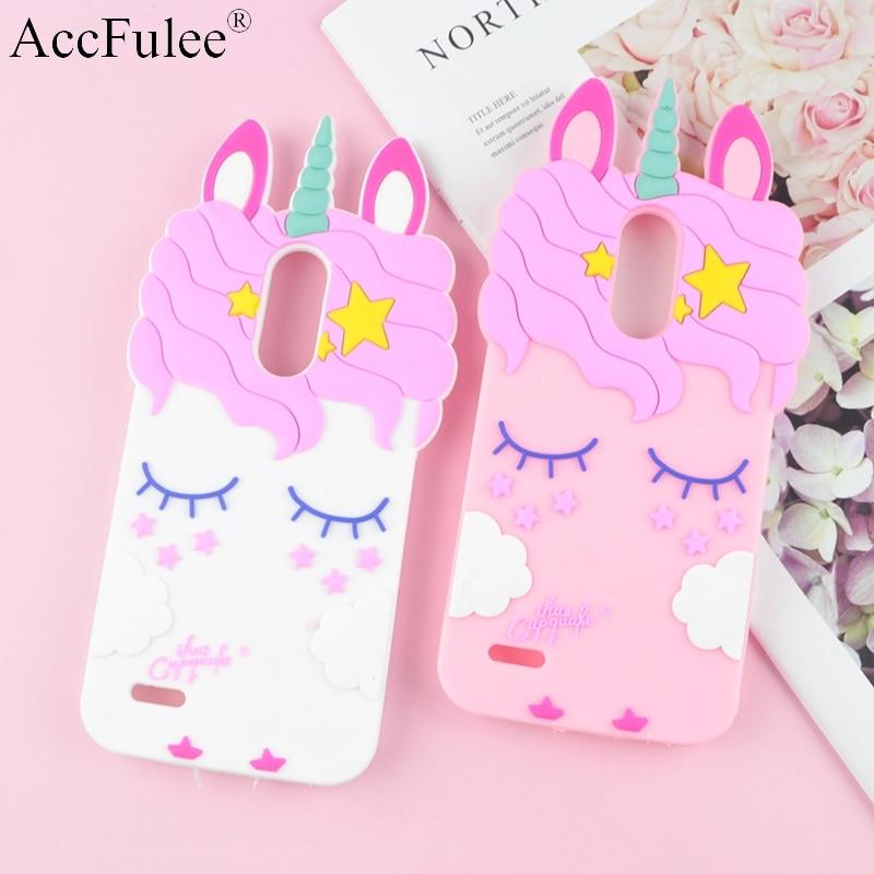 3D Fashion Cartoon Pink Unicorn Silicone Case For LG K8