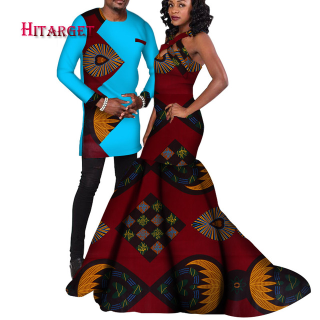 African Traditional Ankara Print Suit For And Women's Dress / Traditional African Wedding/Party Clothing Couples